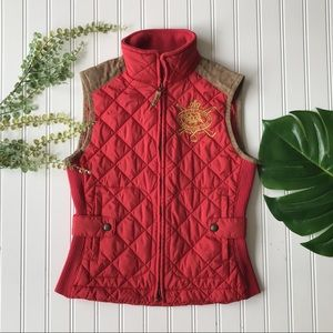 Ralph Lauren Sport Crest Vest red brown suede zip